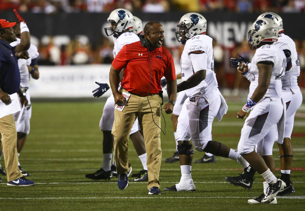Howard Bison head coach Mike London shouts to his team during a football game against UNLV at Sam Boyd Stadium in Las Vegas on Saturday, Sept. 2, 2017. Chase Stevens Las Vegas Review-Journal @csst ...