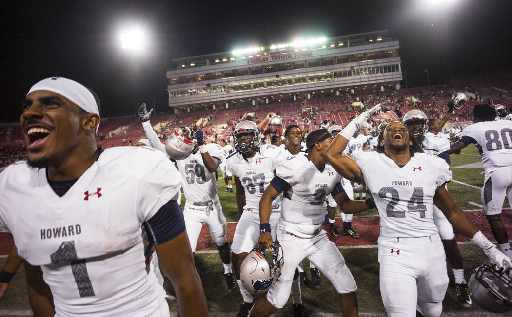 Howard players celebrate after defeating UNLV 43-40 during a football game at Sam Boyd Stadium in Las Vegas on Saturday, Sept. 2, 2017. Chase Stevens Las Vegas Review-Journal @csstevensphoto