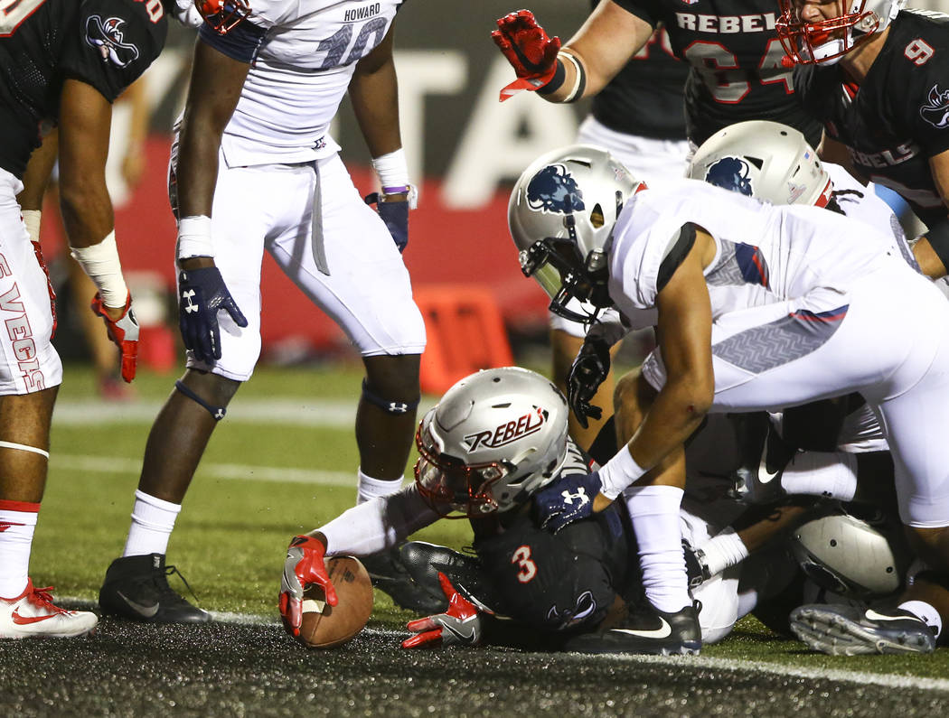 UNLV running back Lexington Thomas (3) scores a touchdown against Howard during a football game at Sam Boyd Stadium in Las Vegas on Saturday, Sept. 2, 2017. Chase Stevens Las Vegas Review-Journal  ...