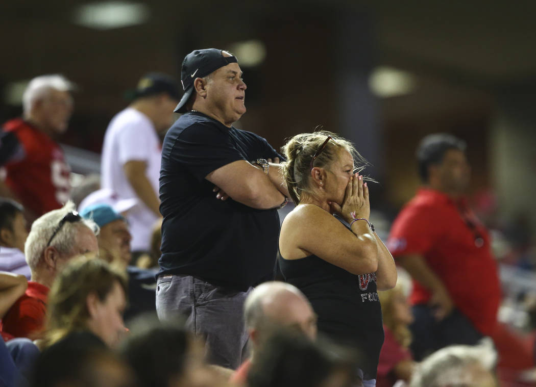 UNLV fans react as their team falls behind Howard in the final moments of a football game at Sam Boyd Stadium in Las Vegas on Saturday, Sept. 2, 2017. Chase Stevens Las Vegas Review-Journal @csste ...