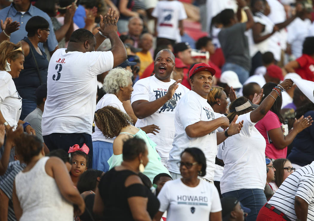 Howard fans cheer as their team scores a touchdown against UNLV during a football game at Sam Boyd Stadium in Las Vegas on Saturday, Sept. 2, 2017. Chase Stevens Las Vegas Review-Journal @cssteven ...
