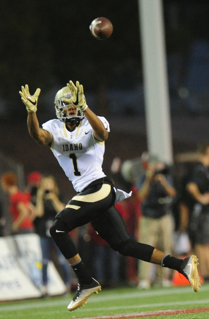 Idaho wide receiver Lloyd Hightower catches a pass for a first down against UNLV in the first half of their NCAA college football game at Sam Boyd Stadium in Henderson Saturday, Sept. 24, 2016. Jo ...