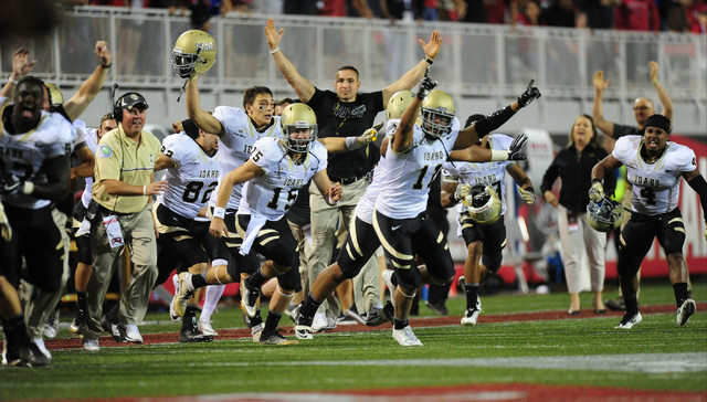 Idaho Vandals players celebrate their 33-30 upset win over UNLV during their NCAA college football game at Sam Boyd Stadium in Henderson Saturday, Sept. 24, 2016. Josh Holmberg/Las Vegas Review-Jo ...