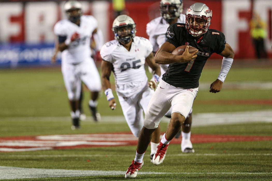 UNLV quarterback Armani Rogers (1) runs past the Howard Bison during the third quarter at Sam Boyd Stadium in Las Vegas, Saturday, Sept. 2, 2017. Joel Angel Juarez Las Vegas Review-Journal @jajuar ...