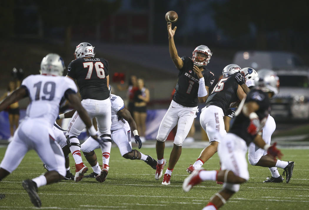 UNLV quarterback Armani Rogers (1) throws a pass during a football game against Howard at Sam Boyd Stadium in Las Vegas on Saturday, Sept. 2, 2017. Chase Stevens Las Vegas Review-Journal @cssteven ...