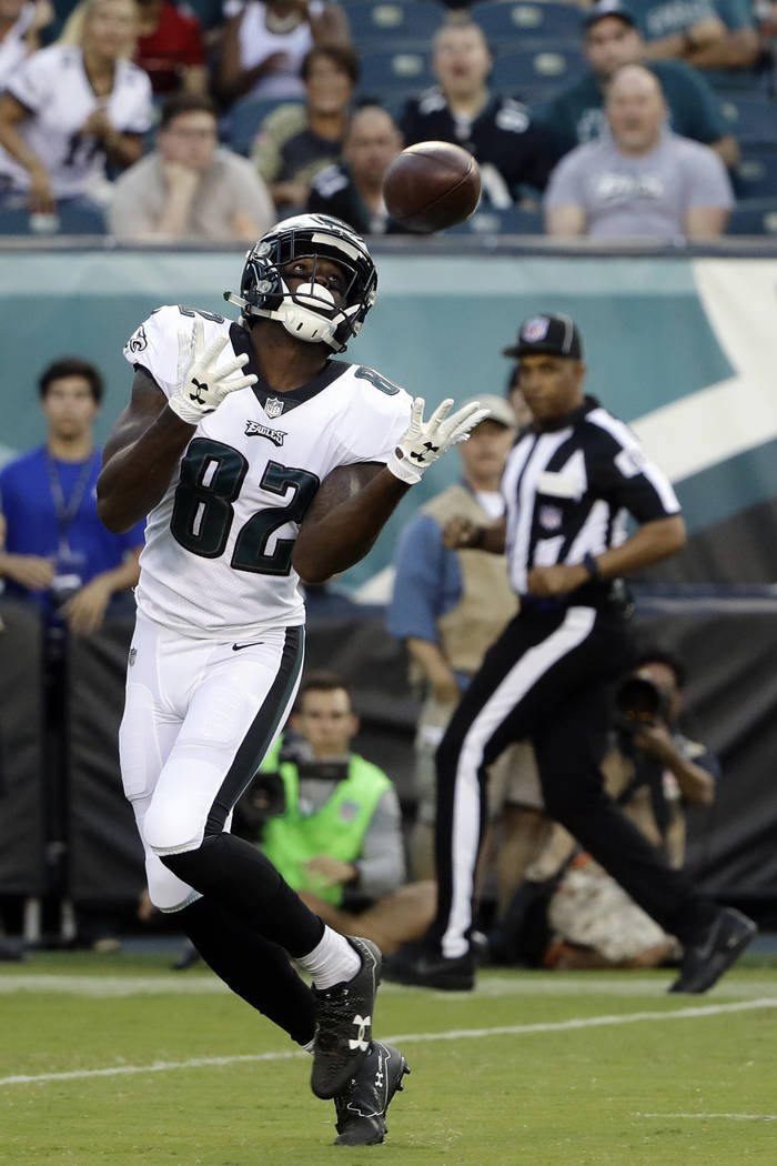 Philadelphia Eagles' Torrey Smith pulls in a touchdown pass during the first half of a preseason NFL football game against the Miami Dolphins, Thursday, Aug. 24, 2017, in Philadelphia. (AP Photo/M ...