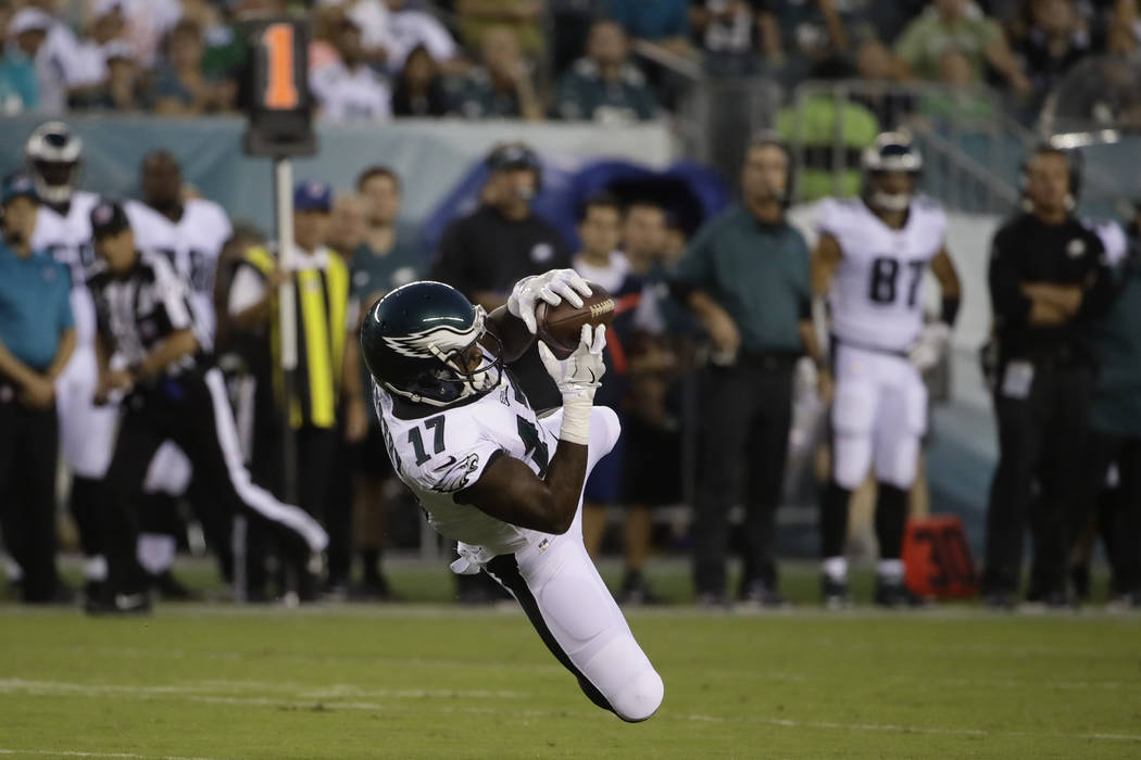 Philadelphia Eagles' Alshon Jeffery pulls in a pass during the first half of a preseason NFL football game against the Miami Dolphins, Thursday, Aug. 24, 2017, in Philadelphia. (AP Photo/Matt Rourke)