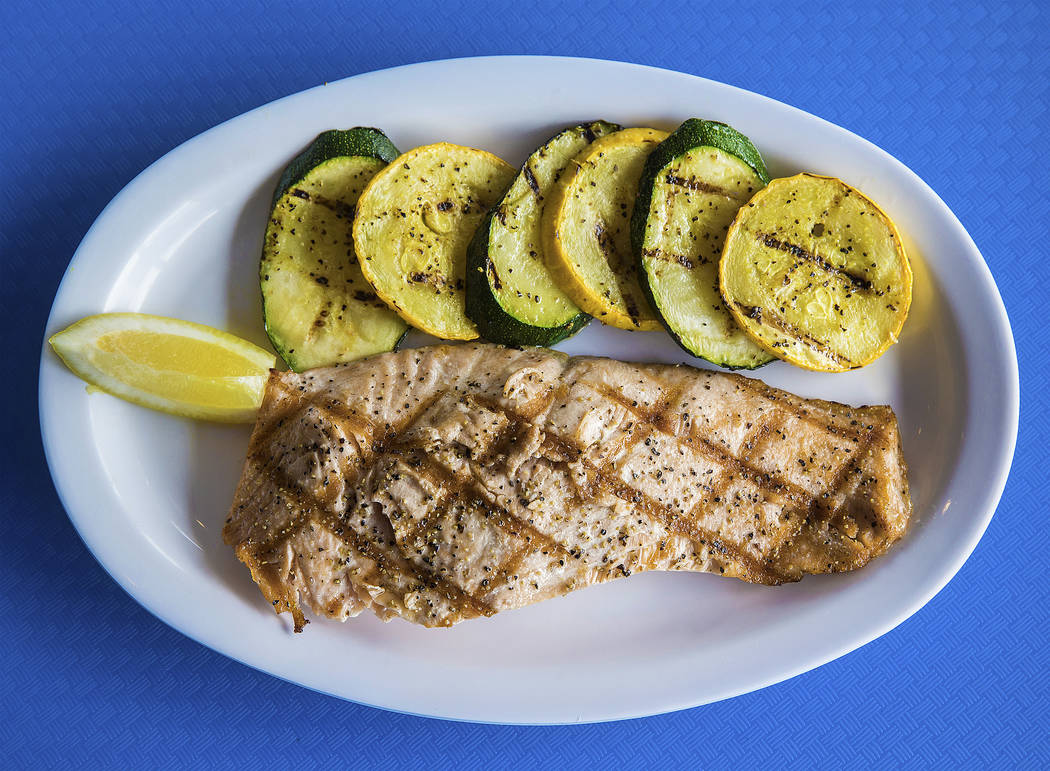The grilled salmon filet at Fish King Grill on Thursday, Aug 24, 2017, in Las Vegas. Benjamin Hager Las Vegas Review-Journal @benjaminhphoto