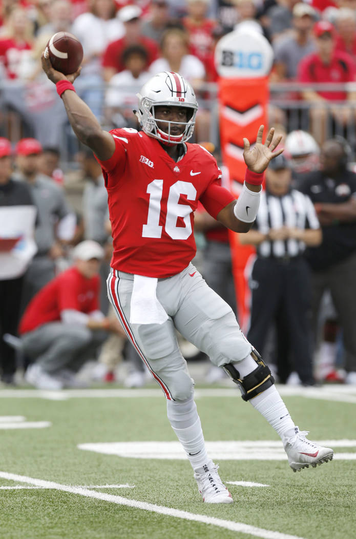 Ohio State quarterback J.T. Barrett throws a pass against Army during the first half of an NCAA college football game Saturday, Sept. 16, 2017, in Columbus, Ohio. (AP Photo/Jay LaPrete)