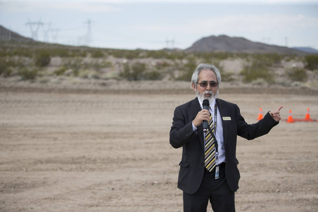 Andy Kuniyuki, dean of the school of Liberal Arts and Sciences at Nevada State College, speaks during an unmanned aircraft systems event at the Henderson Unmanned Vehicle Range in Henderson, Tuesd ...