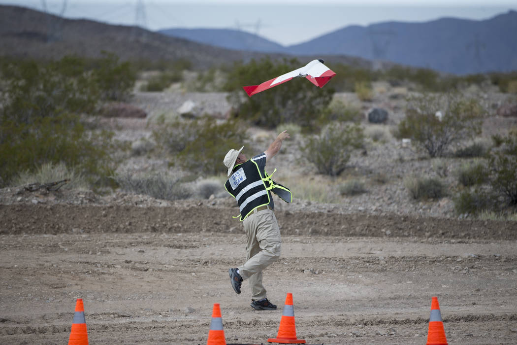 John Hammond, chief pilot and director of safety and training for SmartPlanes, during a demonstration of their unmanned aircraft systems, at the Henderson Unmanned Vehicle Range in Henderson, Tues ...