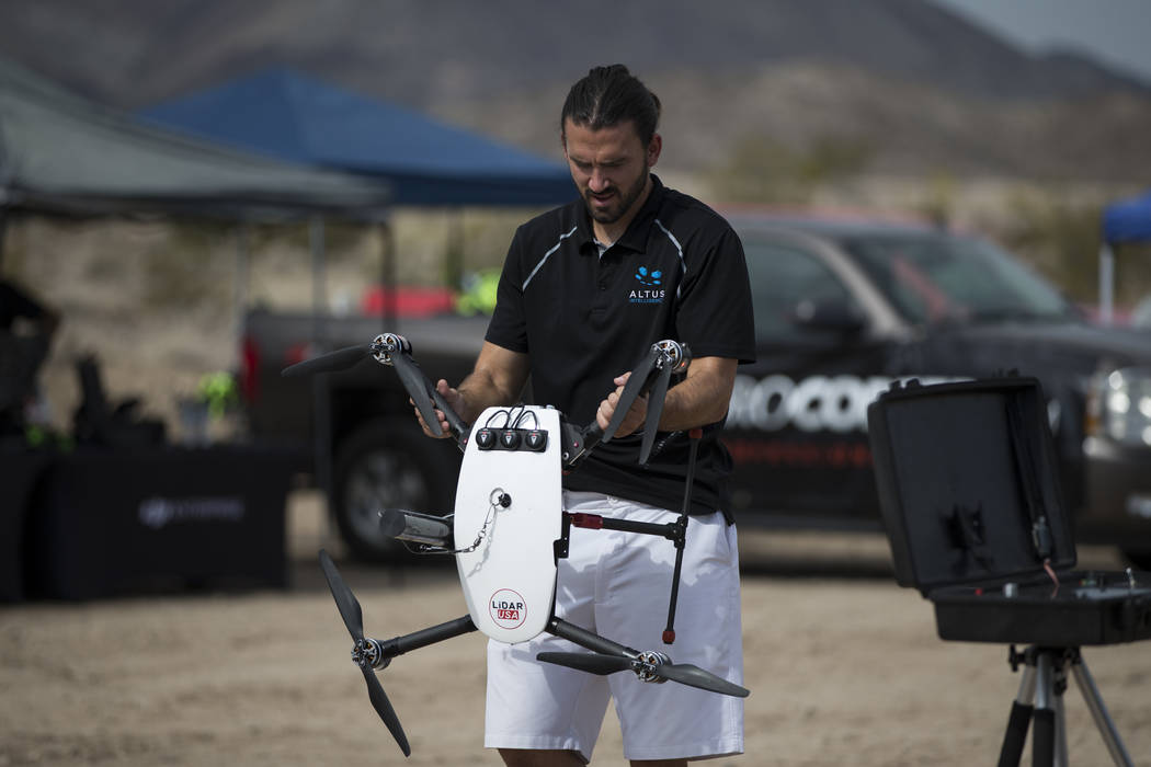Nick ONelio, U.S. director of business development for Altus Intelligence, during a demonstration of their unmanned aircraft systems applications, at the Henderson Unmanned Vehicle Range in Hender ...