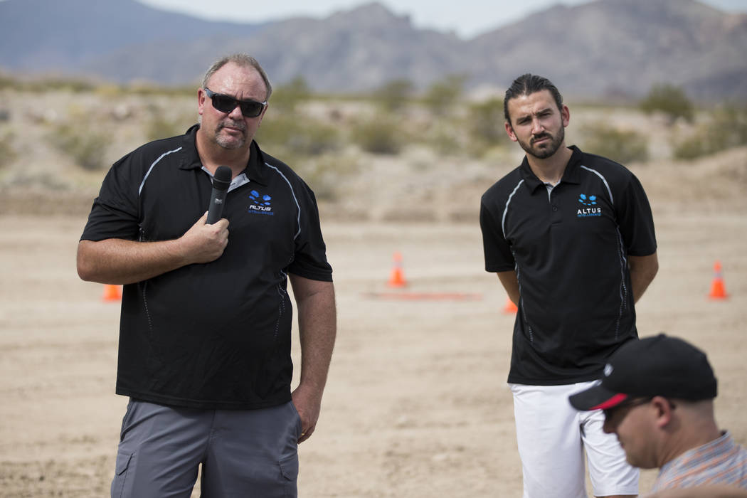 Shaun Mitchell, left, CEO of Altus Intelligence, and Nick ONelio, U.S. director of business development, during a demonstration of their unmanned aircraft systems applications, at the Henderson Un ...