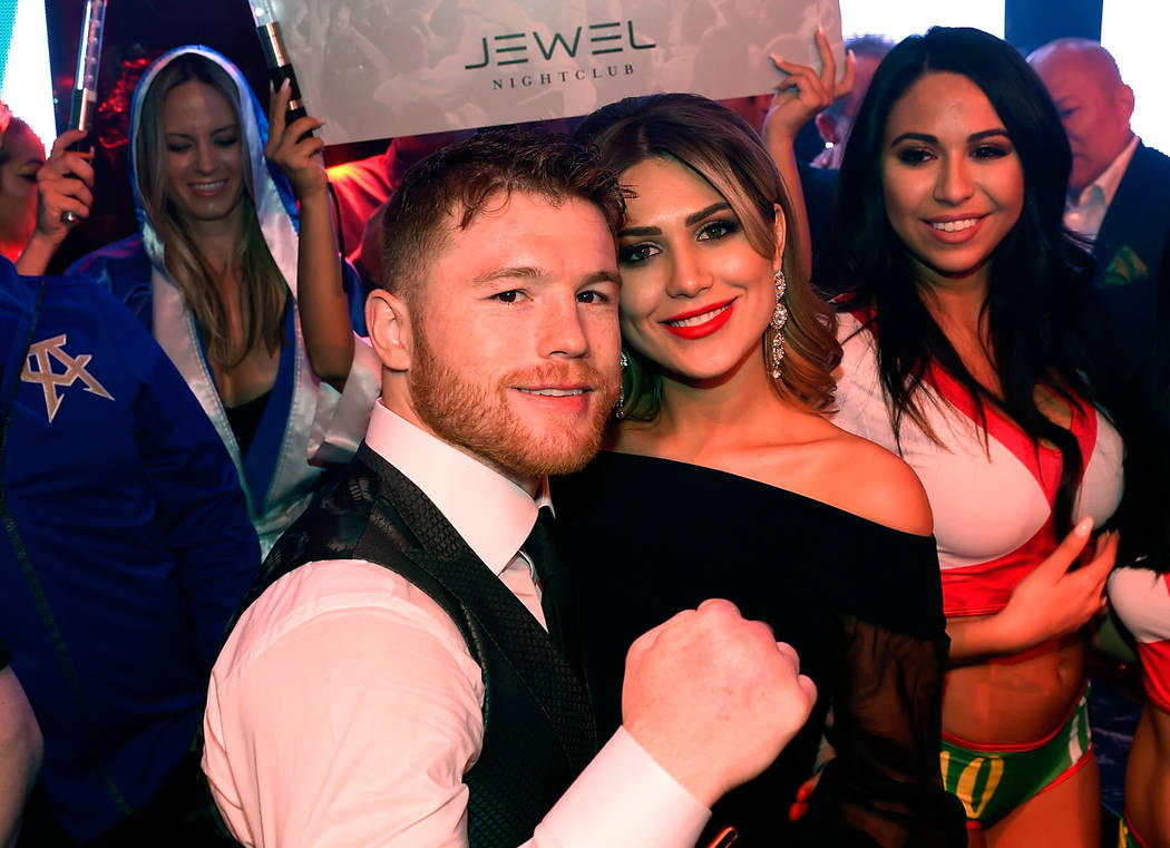 LAS VEGAS, NV - MAY 06:  Boxer Canelo Alvarez (L) and Fernanda Gomez celebrate during his after-fight party at Jewel Nightclub at the Aria Resort & Casino on May 6, 2017 in Las Vegas, Nevada.  ...