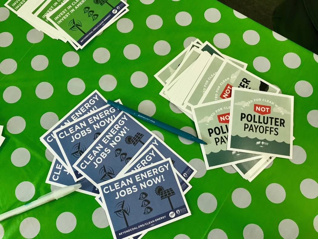 Stickers for one of the Sierra Club's largest campaigns, Beyond Coal, which seeks to close at least one-third of the country's more than 500 coal plants by 2020 and replace them with renewable ene ...