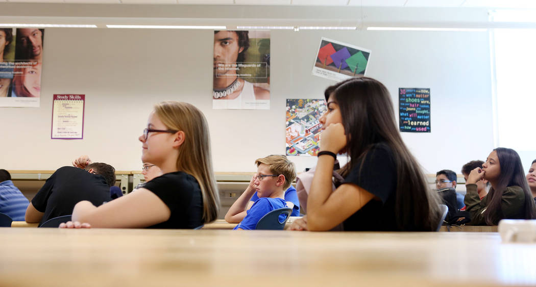 Ninth grade students listen to their Information Technology class at East Career and Technical Academy in Las Vegas, Monday, Aug. 28, 2017. Elizabeth Brumley Las Vegas Review-Journal