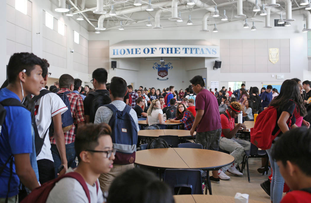 Students enter the lunchroom at East Career and Technical Academy in Las Vegas, Monday, Aug. 28, 2017. Elizabeth Brumley Las Vegas Review-Journal