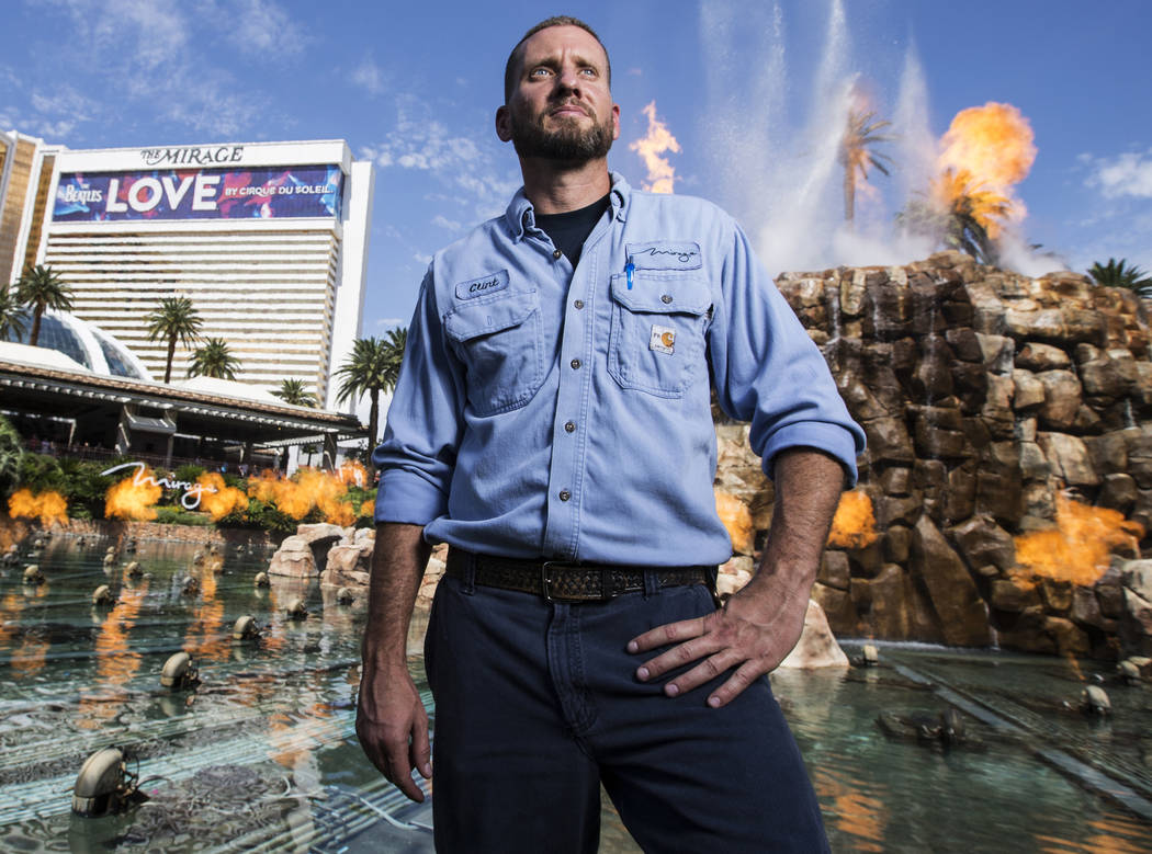 Clint Schreiner has been the chief engineer for the Volcano fire show on the Strip for the past 9 years. Photo taken on Tuesday, Aug 29, 2017, outside The Mirage hotel-casino in Las Vegas. Benjami ...