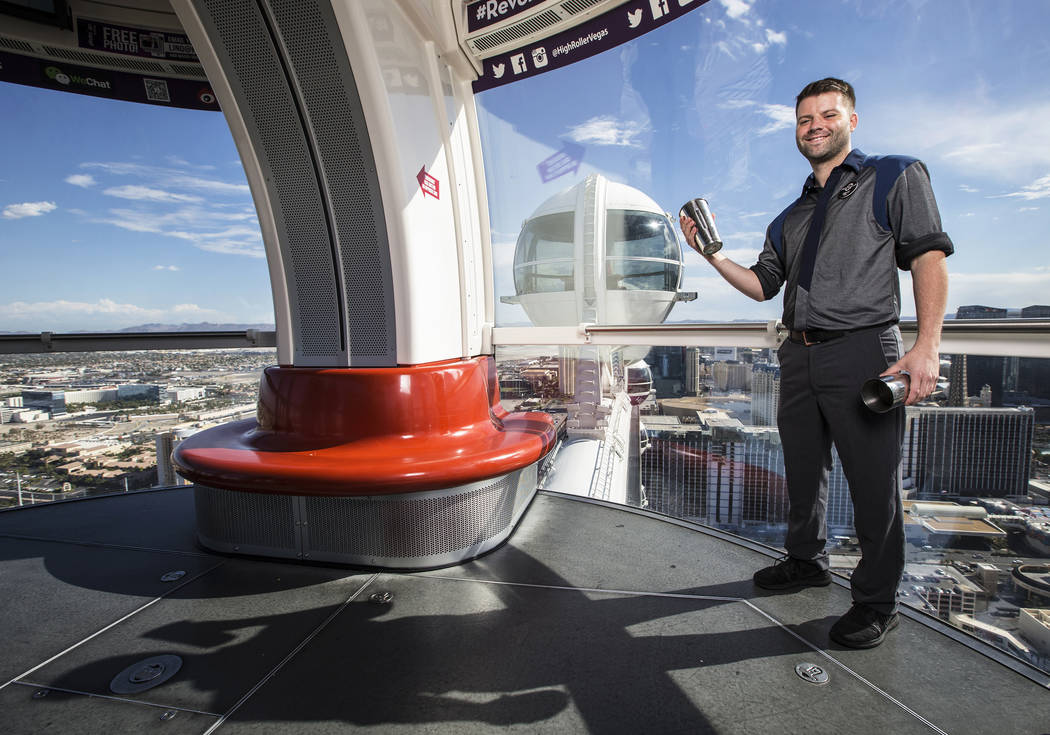 Brett Heaford has been a bar ambassador serving drinks to guests on the High Roller for the past 3 years. Photo taken on Monday, Aug 28, 2017, at The LINQ promenade, in Las Vegas. Benjamin Hager L ...