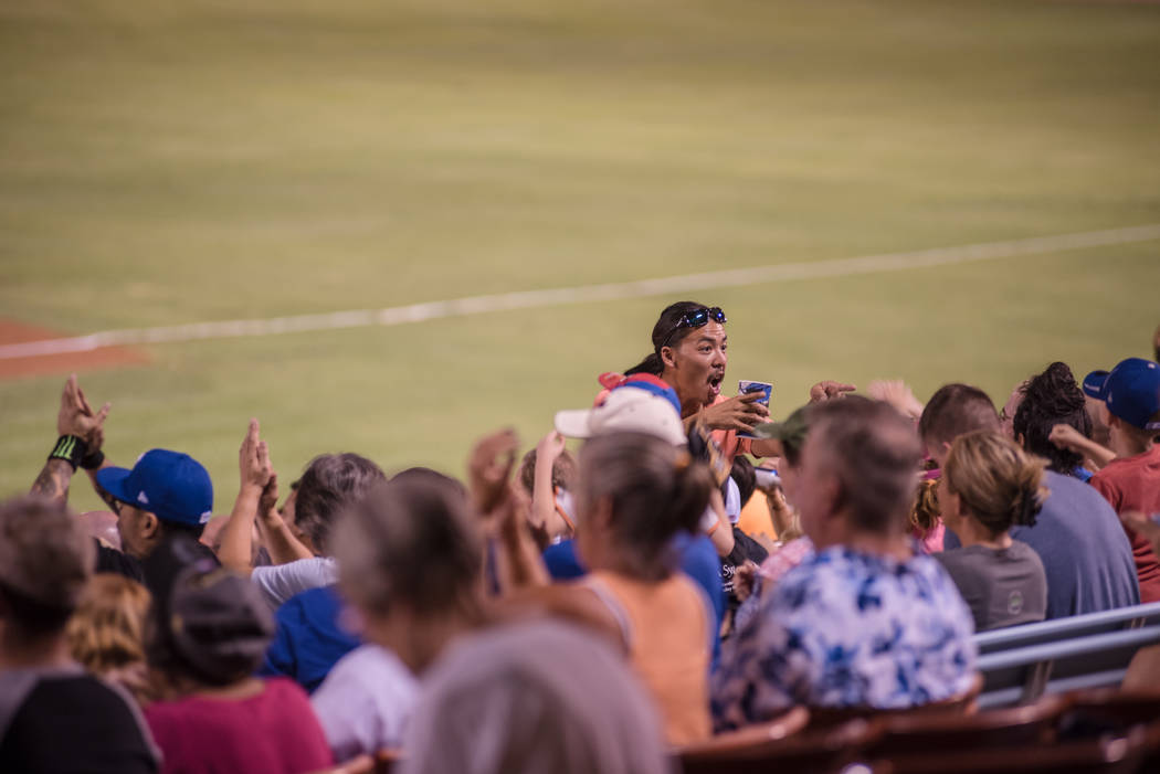 A fan reacts to a winning play by the 51s at Cashman Field on Saturday, Sep. 2, 2017, in Las Vegas. Morgan Lieberman Las Vegas Review-Journal