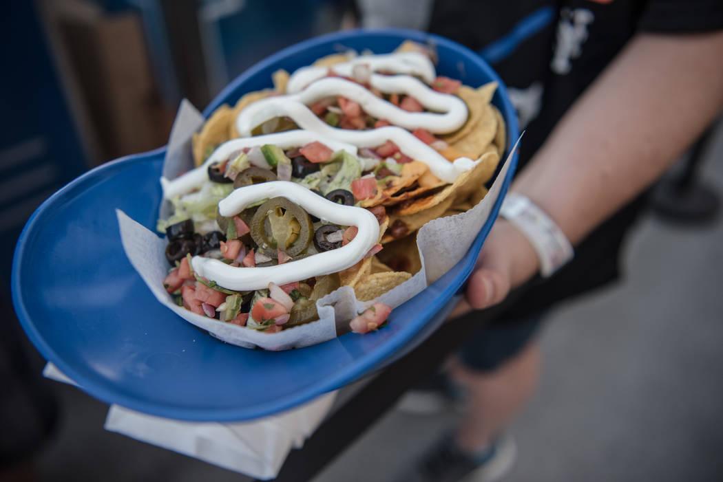 An order of helmet nachos at Cashman Field on Saturday, Sep. 2, 2017, in Las Vegas. Morgan Lieberman Las Vegas Review-Journal