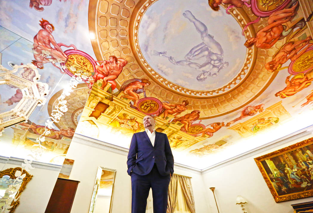 Martyn Ravenhill, owner of the Liberace Mansion, stands in the master bedroom featuring a recreation of the Sistine Chapel on Monday, Aug 28, 2017, in Las Vegas. Benjamin Hager Las Vegas Review-Jo ...