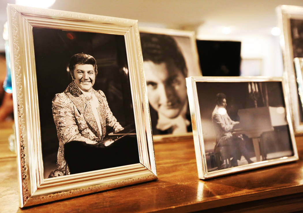 Photos of Liberace line the walls of the Liberace Mansion on Monday, Aug 28, 2017, in Las Vegas. Benjamin Hager Las Vegas Review-Journal @benjaminhphoto