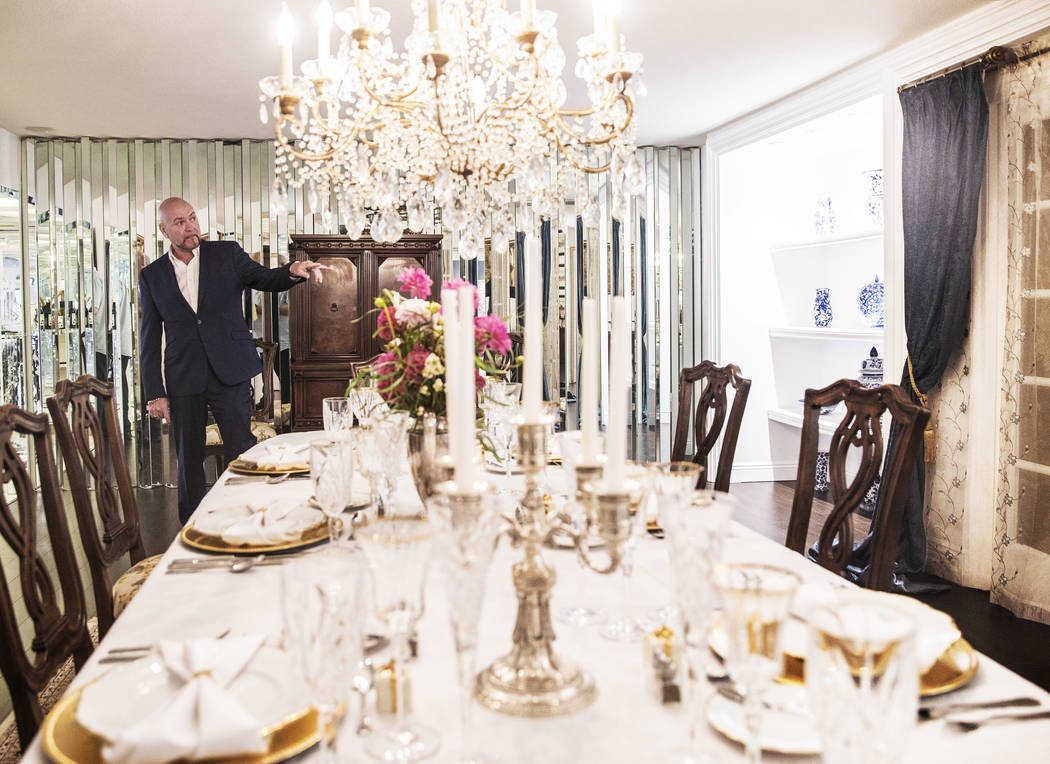 Martyn Ravenhill, owner of the Liberace Mansion, points out features of the dining room on Monday, Aug 28, 2017, in Las Vegas. Benjamin Hager Las Vegas Review-Journal @benjaminhphoto