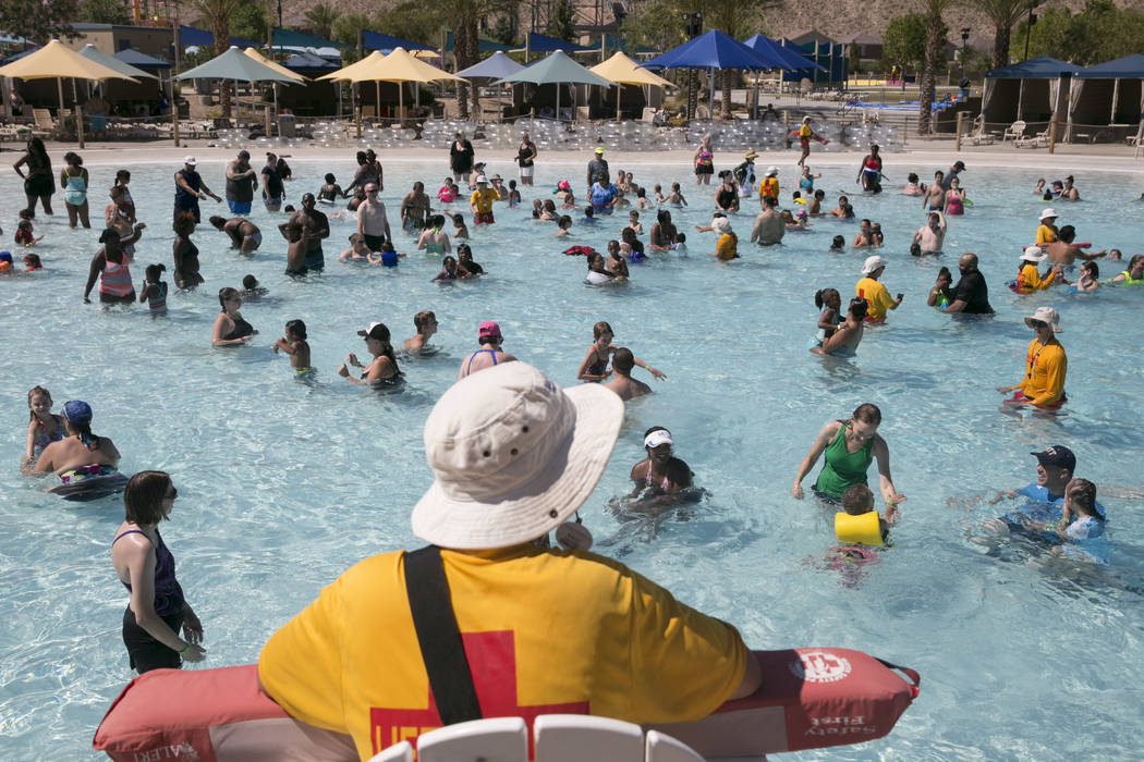 Friends and Families attempt to break the world record for largest swimming lesson at Wet 'n' Wild Las Vegas, Thursday, June 22, 2017. (Gabriella Angotti-Jones/Las Vegas Review-Journal) @gabriella ...