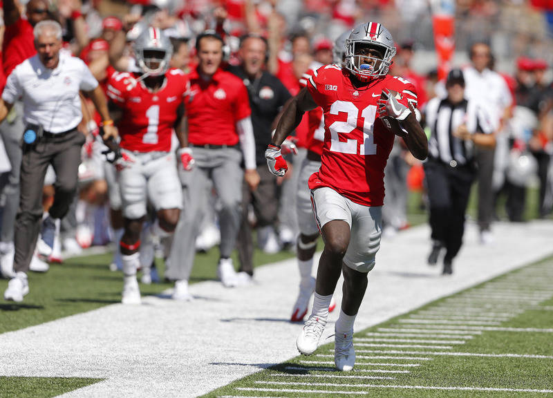 Sep 23, 2017; Columbus, OH, USA; Ohio State Buckeyes wide receiver Parris Campbell (21) carries the ball against the UNLV Rebels during the first quarter at Ohio Stadium. Mandatory Credit: Joe Mai ...