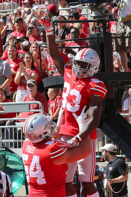 Sep 23, 2017; Columbus, OH, USA; Ohio State Buckeyes wide receiver Terry McLaurin (83) celebrates after a touchdown catch over UNLV Rebels defensive back Tim Hough (not pictured) during the second ...