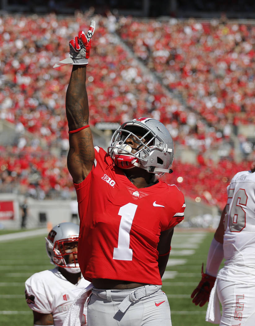 Ohio State receiver Johnnie Dixon celebrates his touchdown against UNLV during the first half of an NCAA college football game Saturday, Sept. 23, 2017, in Columbus, Ohio. (AP Photo/Jay LaPrete)
