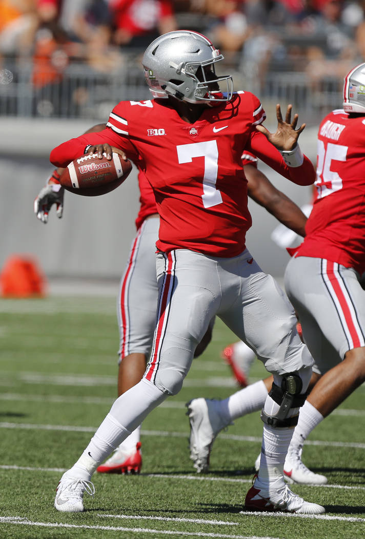 Ohio State quarterback Dwayne Haskins throws a pass against UNLV during the first half of an NCAA college football game Saturday, Sept. 23, 2017, in Columbus, Ohio. (AP Photo/Jay LaPrete)