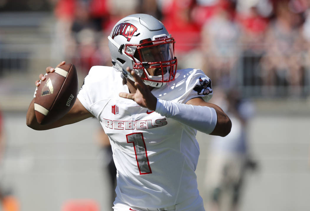 UNLV quarterback Armani Rogers throws a pass against Ohio State during the first half of an NCAA college football game Saturday, Sept. 23, 2017, in Columbus, Ohio. (AP Photo/Jay LaPrete)