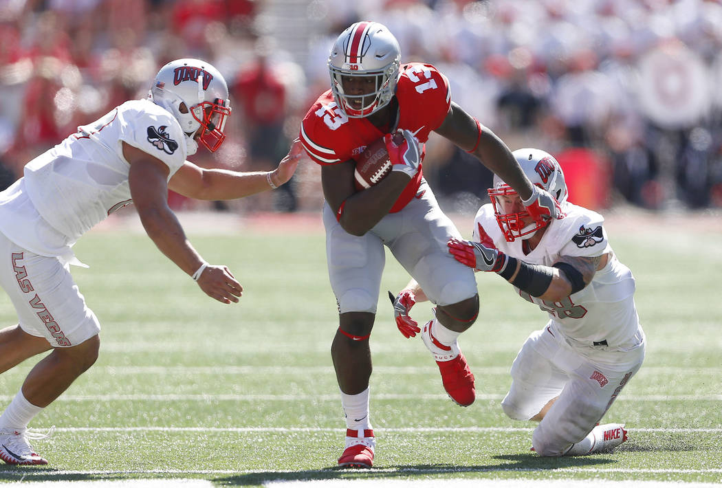 Sep 23, 2017; Columbus, OH, USA; Ohio State Buckeyes tight end Rashod Berry (13) carries the ball against the UNLV Rebels during the fourth quarter against the UNLV Rebels at Ohio Stadium. Ohio St ...