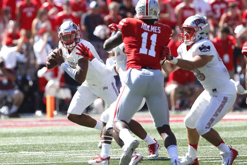 Sep 23, 2017; Columbus, OH, USA; UNLV Rebels quarterback Armani Rogers (1) prepares to throw the ball during the first quarter against the Ohio State Buckeyes at Ohio Stadium. (Joe Maiorana-USA TO ...
