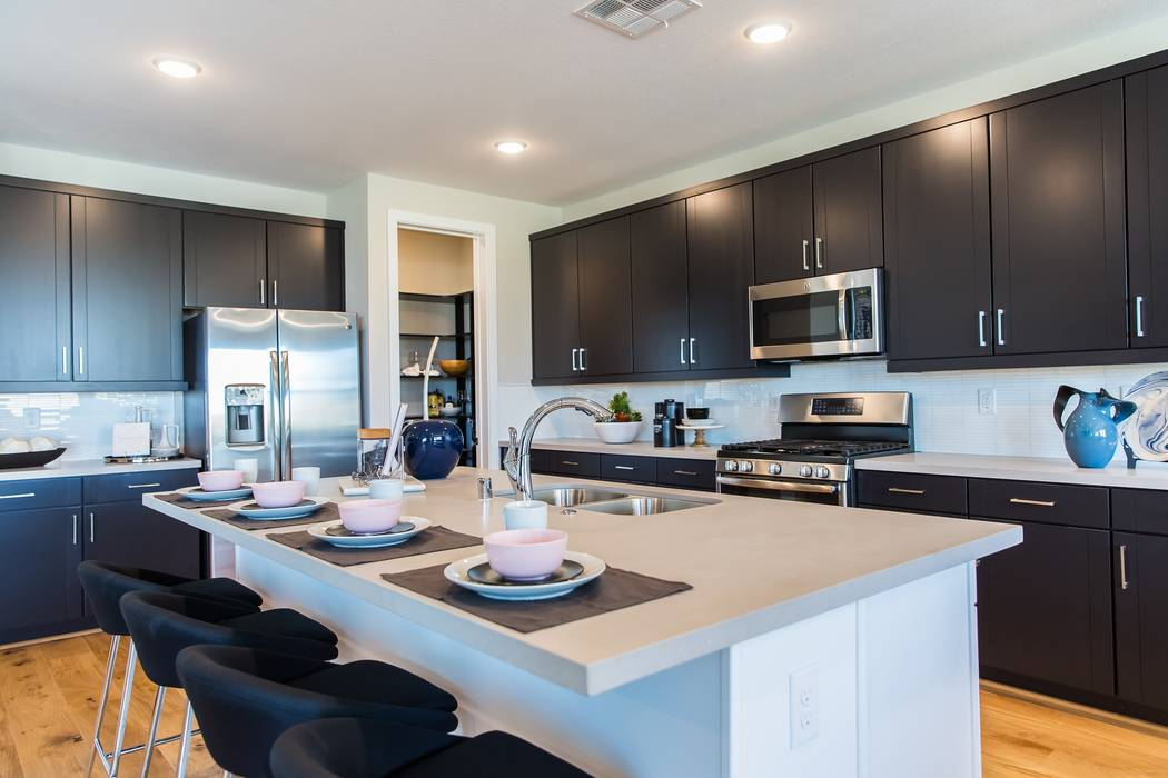 Pardee Homes' Cobalt in the northwest Las Vegas master-planned community of Skye Canyon will celebrate its grand opening Sept. 2. Shown is Cobalt Plan Three model home kitchen. (Pardee)