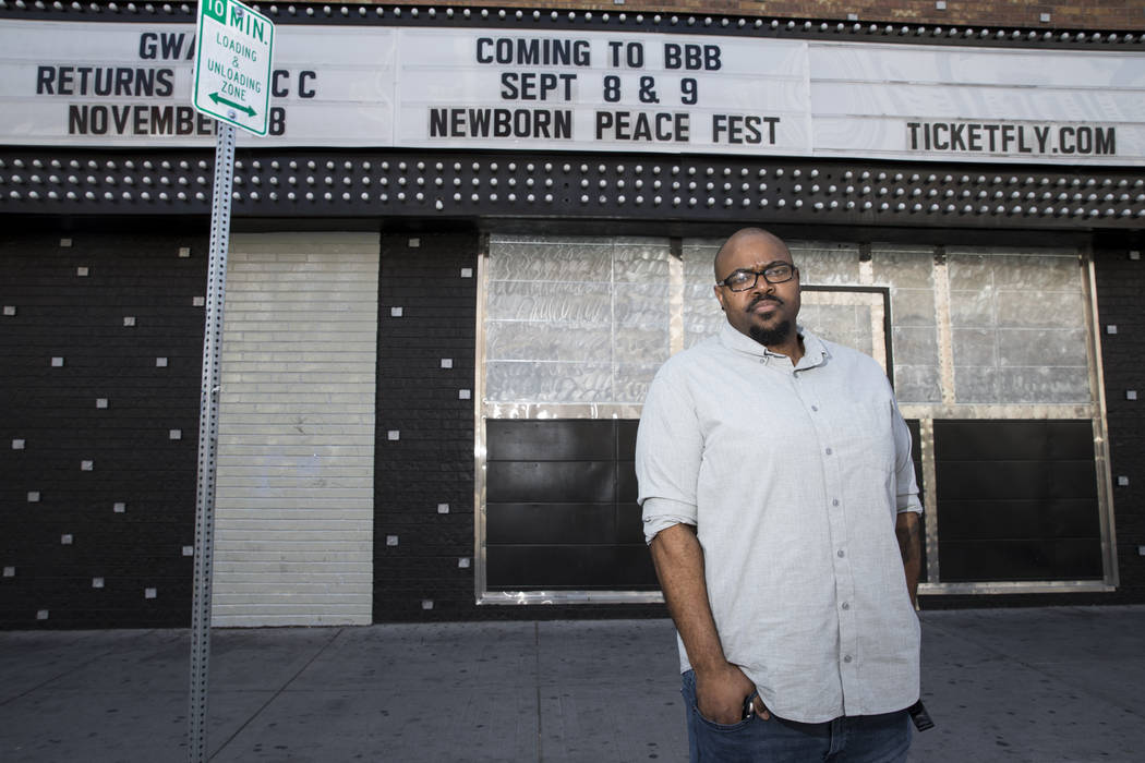 KC Wells, founder of Newborn Freedom Festival, in front of the festival's upcoming venue, Backstage Bar & Billiards in Las Vegas, on Friday, Sept. 1, 2017. The festival will be held on Septemb ...