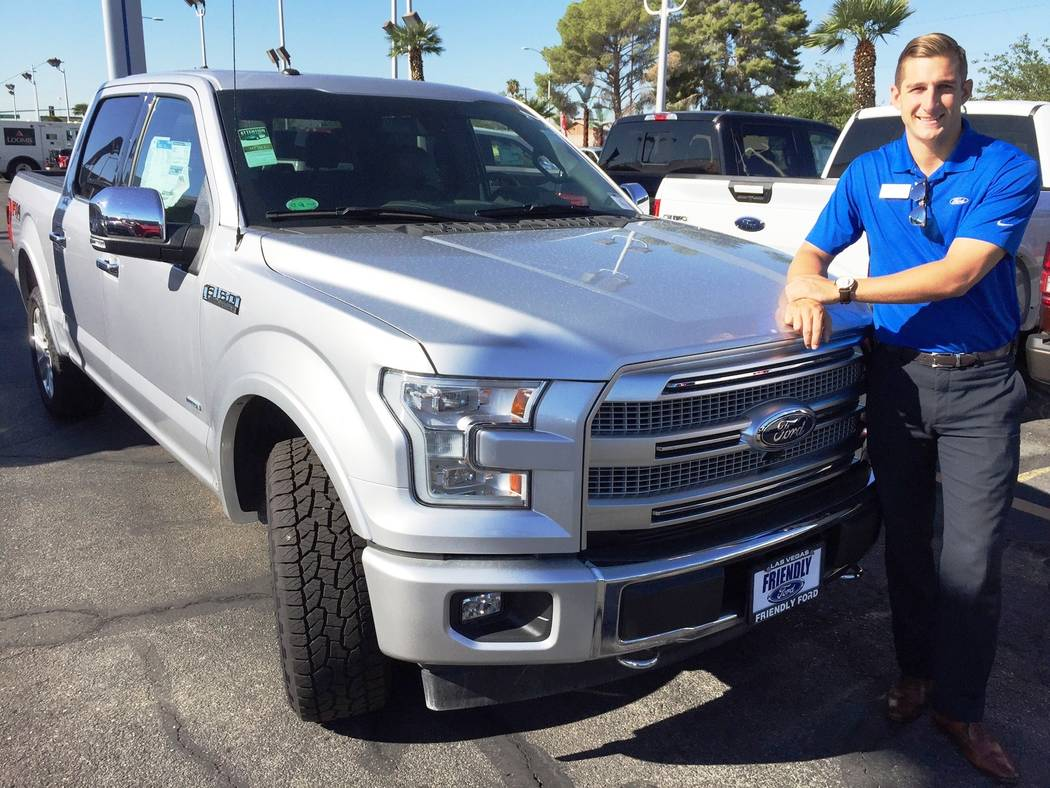 Friendly Ford Friendly Ford sales consultant Rob Blankenship is seen with the 2017 Ford F-150 Platinum at the dealership at 660 N. Decatur Blvd.
