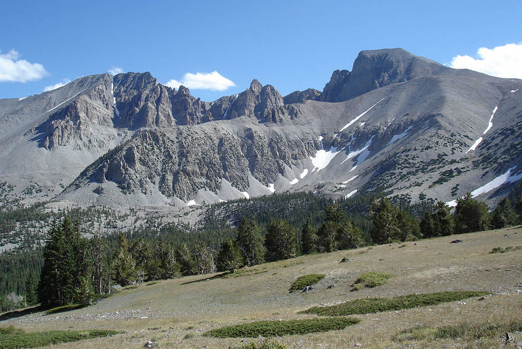 The 13,063-foot summit of Wheeler Peak, right, rises above Great Basin National Park, 300 miles northeast of Las Vegas. The shorter summit at the left of the frame is Jeff Davis Peak, which was na ...