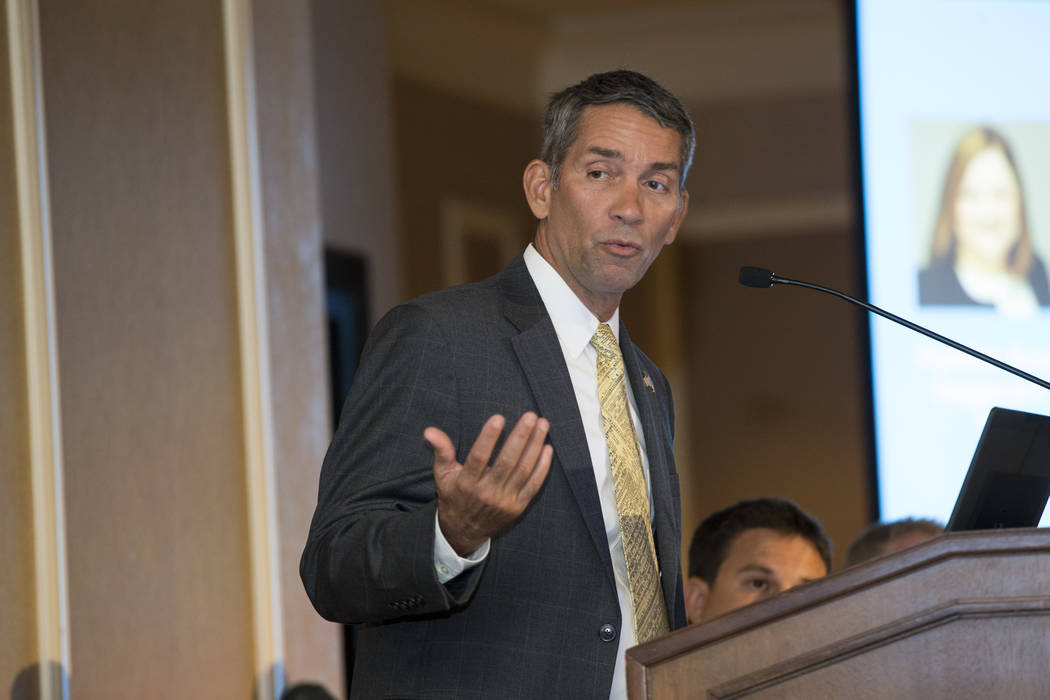 Jim Viola, deputy director of the Office of General Aviation Safety Assurance for the Federal Aviation Administration, during a panel discussion on FAA regulations in the InterDrone conference at  ...