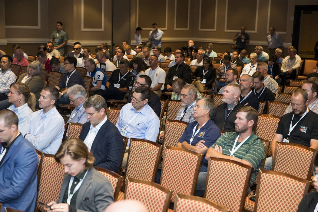 People attend a panel discussion on Federal Aviation Administration regulations during the InterDrone conference at the Rio Convention Center in Las Vegas, Wednesday, Sept. 6, 2017. Erik Verduzco/ ...