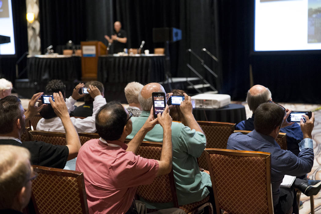 People attend a panel discussion on aerial photography during the InterDrone conference at the Rio Convention Center in Las Vegas, Wednesday, Sept. 6, 2017. Erik Verduzco/Las Vegas Review-Journal