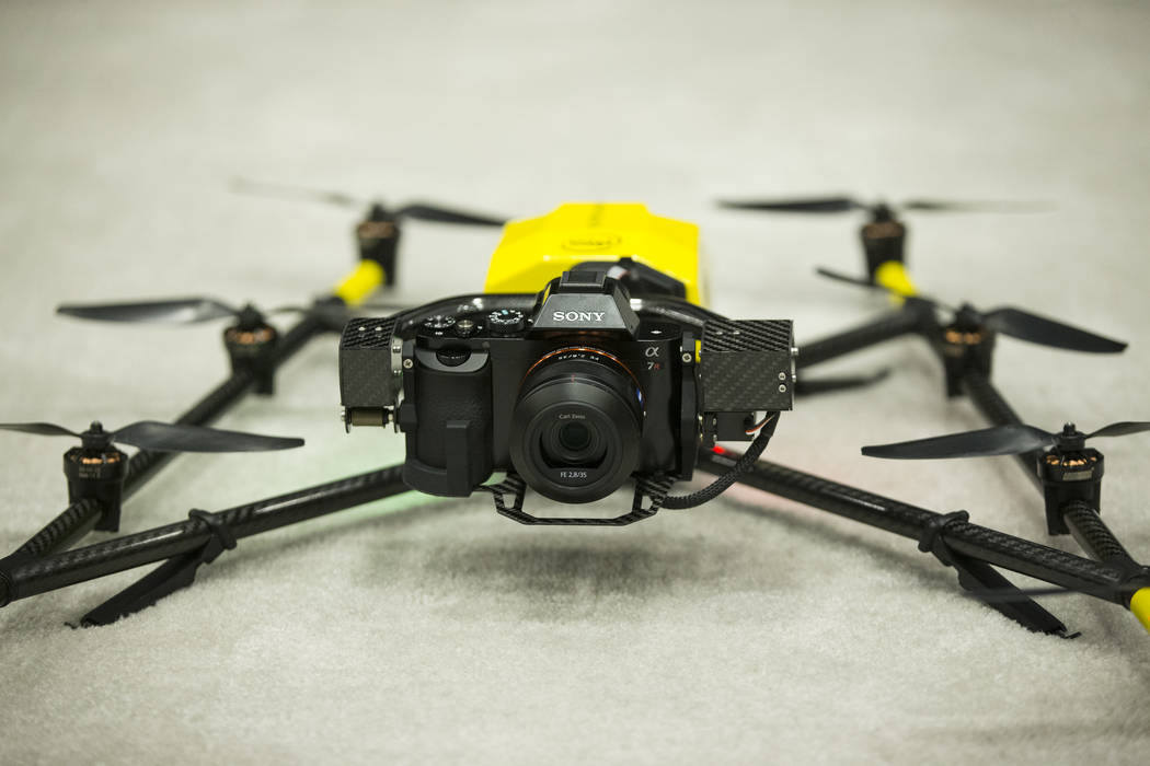 The Intel Falcon 8+ drone on display during the InterDrone conference at the Rio Convention Center in Las Vegas, Wednesday, Sept. 6, 2017. Erik Verduzco/Las Vegas Review-Journal