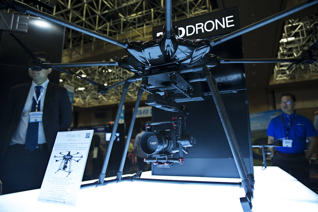 The PRODRONE Night Surveyor on display during the InterDrone conference at the Rio Convention Center in Las Vegas, Wednesday, Sept. 6, 2017. Erik Verduzco/Las Vegas Review-Journal