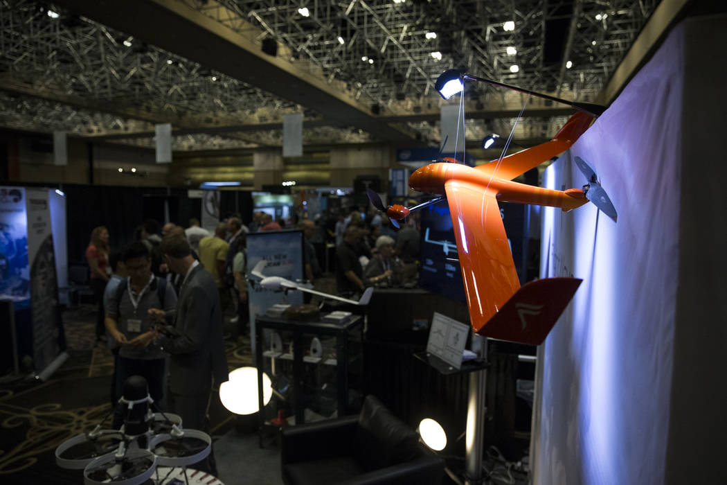 A drone hangs from a light fixture during the InterDrone conference at the Rio Convention Center in Las Vegas, Wednesday, Sept. 6, 2017. Erik Verduzco/Las Vegas Review-Journal