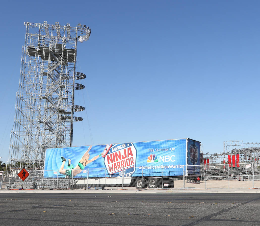 The American Ninja Warrior obstacle course being put together near Giles Street and E. Mandalay Bay Rd. on June 16 for the show's finals, which will be taped in Las Vegas beginning June 19. Heidi  ...