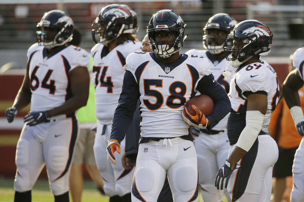 Denver Broncos linebacker Von Miller (58) warms up before a preseason NFL football game against the San Francisco 49ers Saturday, Aug. 19, 2017, in Santa Clara, Calif. (AP Photo/Eric Risberg)