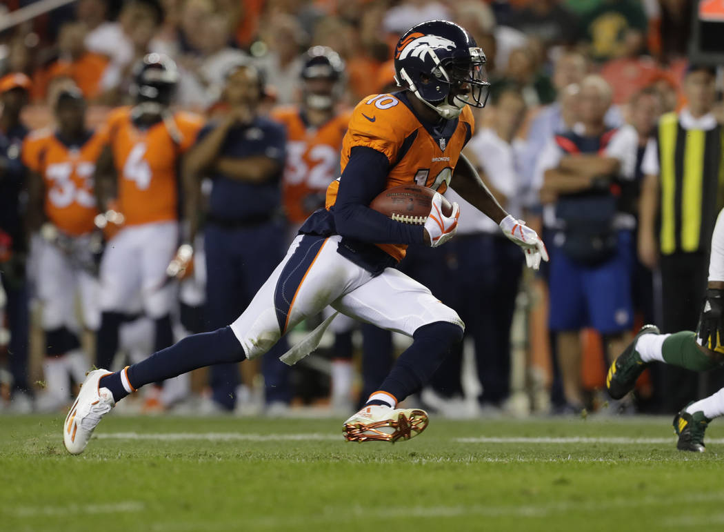Denver Broncos wide receiver Emmanuel Sanders (10) runs against the Green Bay Packers during the first half of an NFL preseason football game, Saturday, Aug. 26, 2017, in Denver. (AP Photo/Joe Mah ...