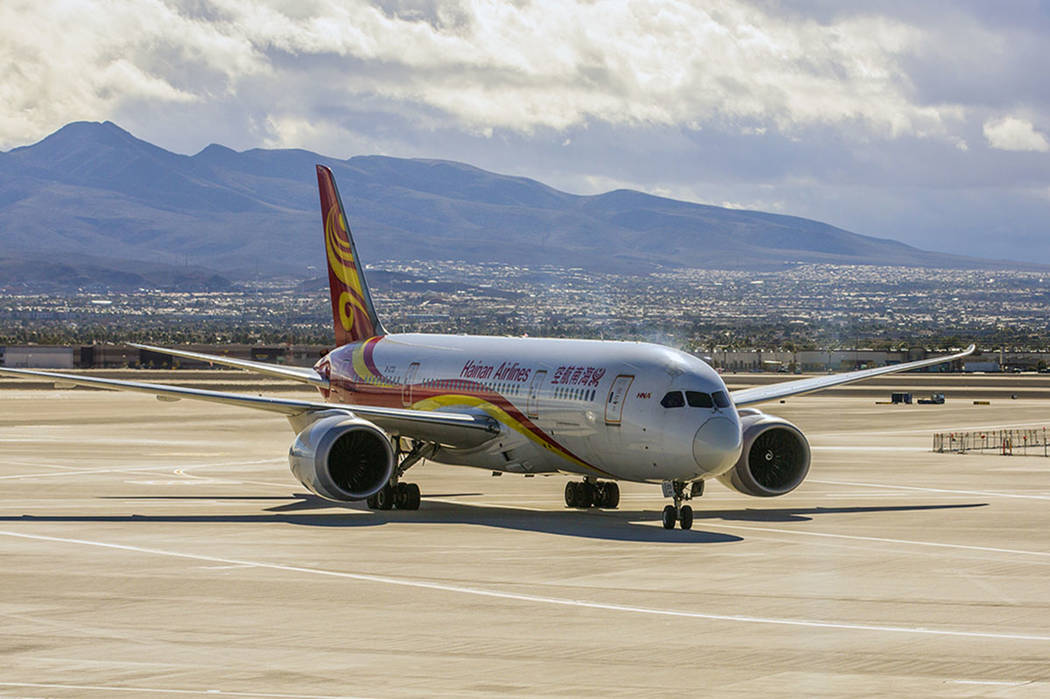 A Hainan Airline flight from Beijing arrives at McCarran International Airport on Wednesday, Jan. 11, 2017. (Las Vegas Review-Journal)